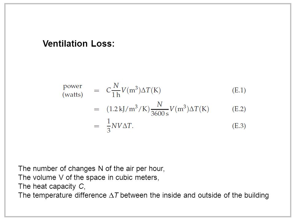 Ventilation Loss: The number of changes N of the air per hour, The volume V of the space in cubic meters, The heat capacity C, The temperature difference  T between the inside and outside of the building