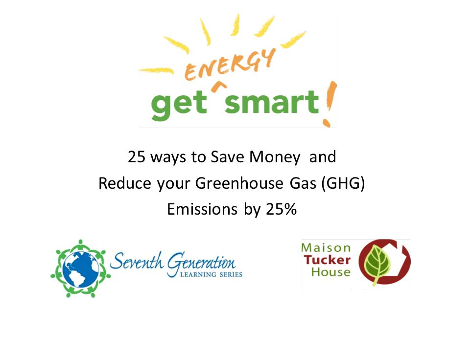 25 ways to Save Money and Reduce your Greenhouse Gas (GHG) Emissions by 25% 2 2