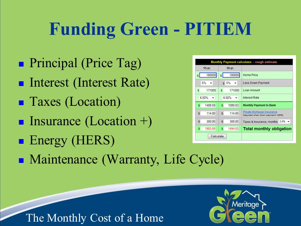 Funding Green - PITIEM Principal (Price Tag) Interest (Interest Rate) Taxes (Location) Insurance (Location +) Energy (HERS) Maintenance (Warranty, Lif