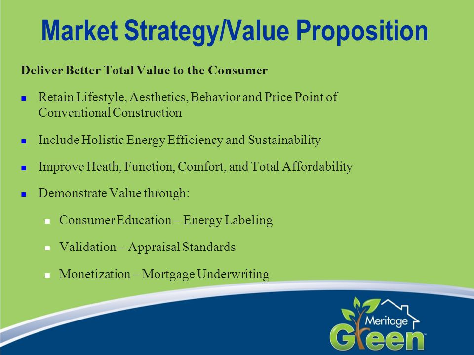 Market Strategy/Value Proposition Deliver Better Total Value to the Consumer Retain Lifestyle, Aesthetics, Behavior and Price Point of Conventional Co