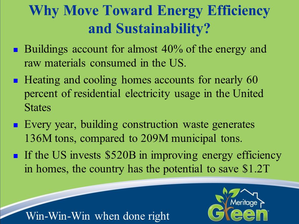 Why Move Toward Energy Efficiency and Sustainability? Buildings account for almost 40% of the energy and raw materials consumed in the US. Heating and