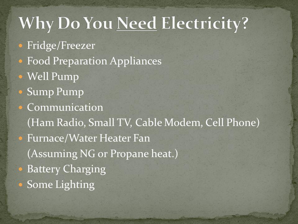 Fridge/Freezer Food Preparation Appliances Well Pump Sump Pump Communication (Ham Radio, Small TV, Cable Modem, Cell Phone) Furnace/Water Heater Fan (