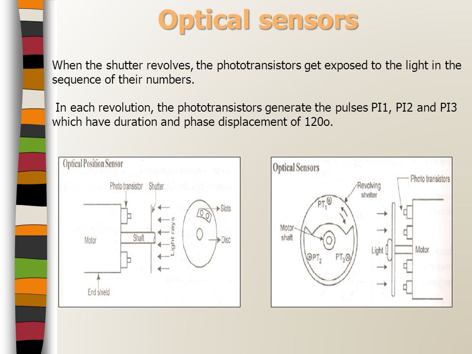 Optical sensors When the shutter revolves, the phototransistors get exposed to the light in the sequence of their numbers. In each revolution, the pho