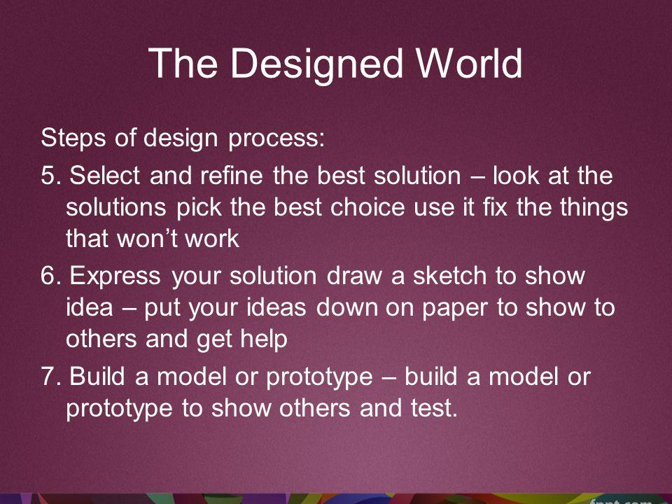 The Designed World Steps of design process: 8.