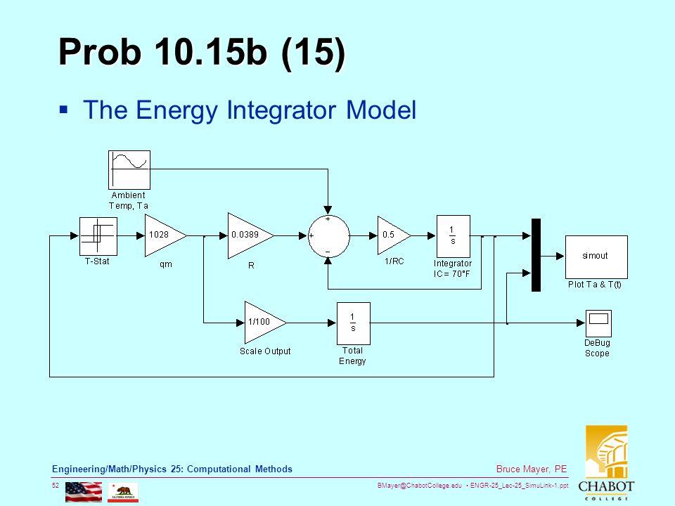 BMayer@ChabotCollege.edu ENGR-25_Lec-25_SimuLink-1.ppt 52 Bruce Mayer, PE Engineering/Math/Physics 25: Computational Methods Prob 10.15b (15)  The En