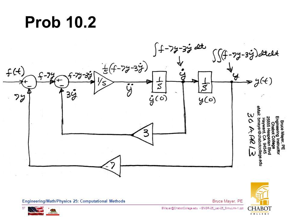 BMayer@ChabotCollege.edu ENGR-25_Lec-25_SimuLink-1.ppt 57 Bruce Mayer, PE Engineering/Math/Physics 25: Computational Methods Prob 10.2