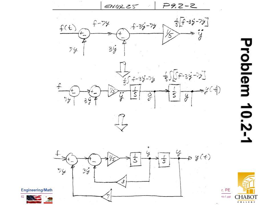 BMayer@ChabotCollege.edu ENGR-25_Lec-25_SimuLink-1.ppt 62 Bruce Mayer, PE Engineering/Math/Physics 25: Computational Methods Problem 10.2-1