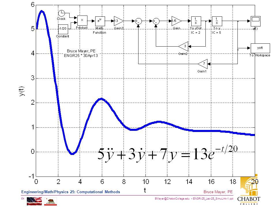 BMayer@ChabotCollege.edu ENGR-25_Lec-25_SimuLink-1.ppt 64 Bruce Mayer, PE Engineering/Math/Physics 25: Computational Methods