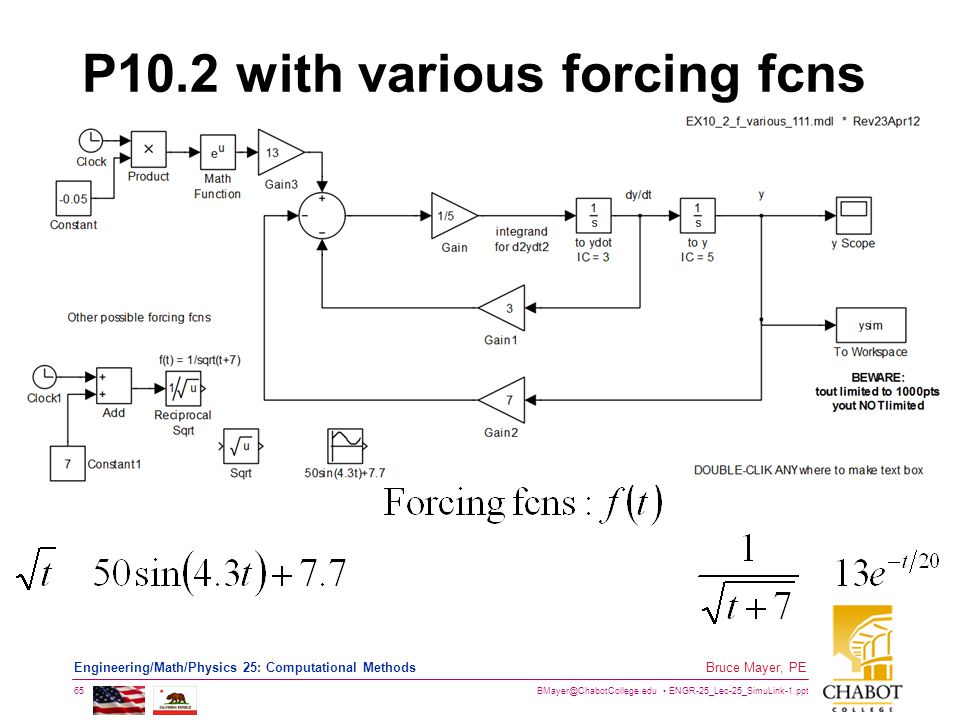 BMayer@ChabotCollege.edu ENGR-25_Lec-25_SimuLink-1.ppt 65 Bruce Mayer, PE Engineering/Math/Physics 25: Computational Methods P10.2 with various forcin