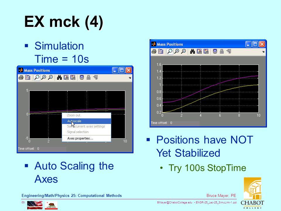 BMayer@ChabotCollege.edu ENGR-25_Lec-25_SimuLink-1.ppt 69 Bruce Mayer, PE Engineering/Math/Physics 25: Computational Methods EX mck (4)  Simulation T