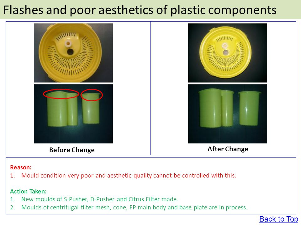Flashes and poor aesthetics of plastic components Before Change After Change Reason: 1.Mould condition very poor and aesthetic quality cannot be controlled with this.