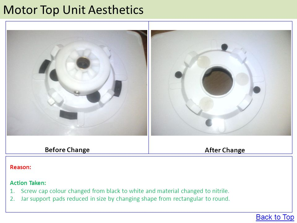 Motor Top Unit Aesthetics Before Change After Change Reason: Action Taken: 1.Screw cap colour changed from black to white and material changed to nitrile.