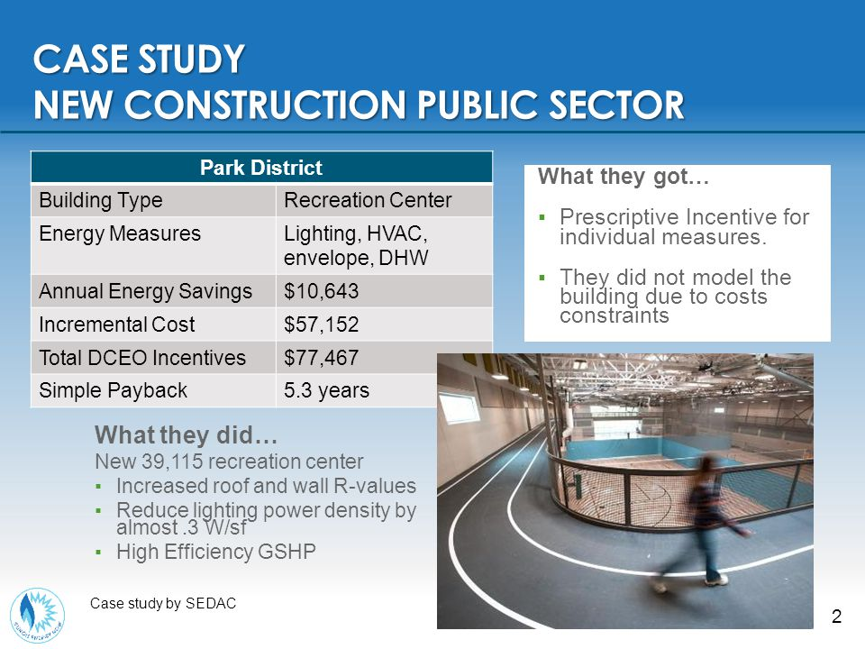 2 CASE STUDY NEW CONSTRUCTION PUBLIC SECTOR Case study by SEDAC What they got… ▪Prescriptive Incentive for individual measures.