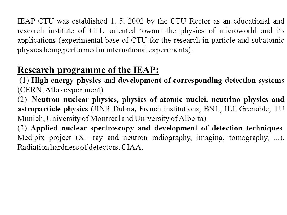 IEAP CTU was established 1. 5.