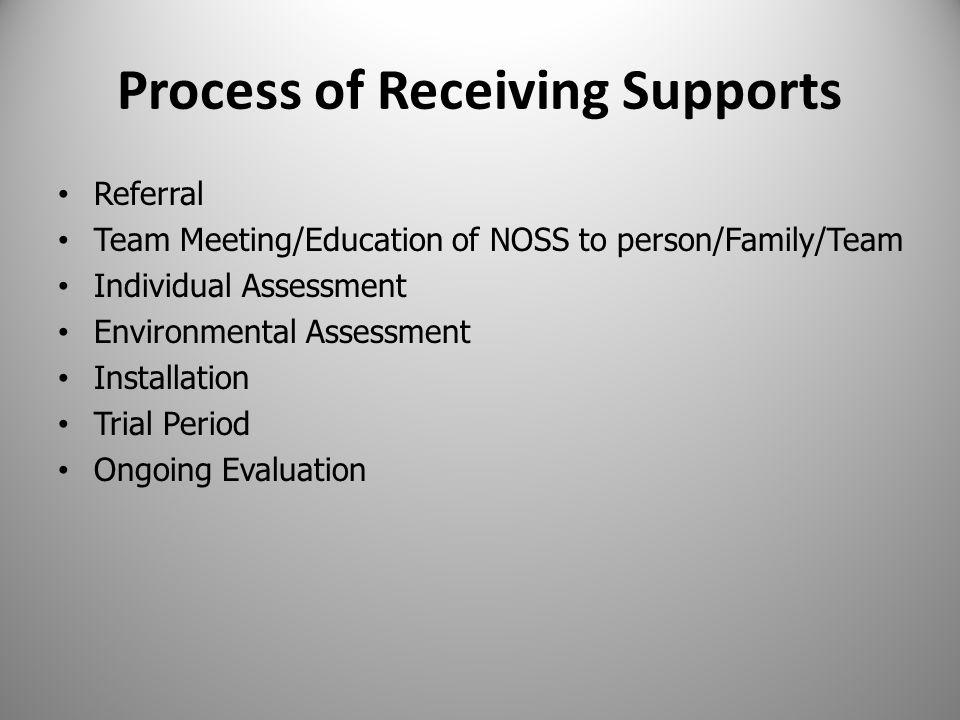Process of Receiving Supports Referral Team Meeting/Education of NOSS to person/Family/Team Individual Assessment Environmental Assessment Installation Trial Period Ongoing Evaluation