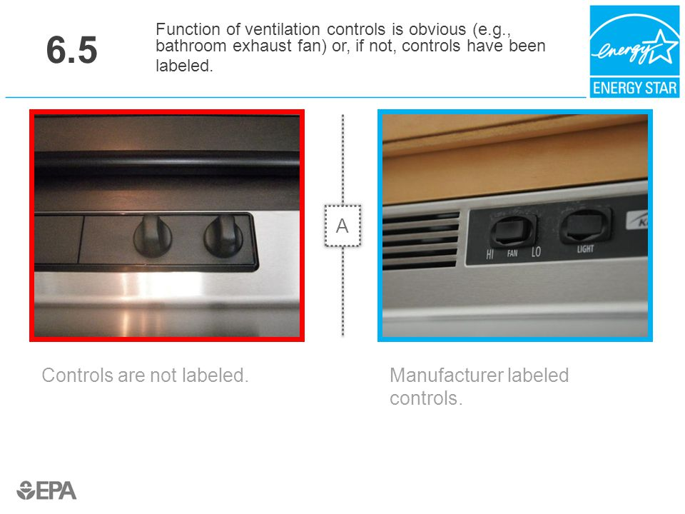 6.5 Controls are not labeled. Function of ventilation controls is obvious (e.g., bathroom exhaust fan) or, if not, controls have been labeled. Manufac