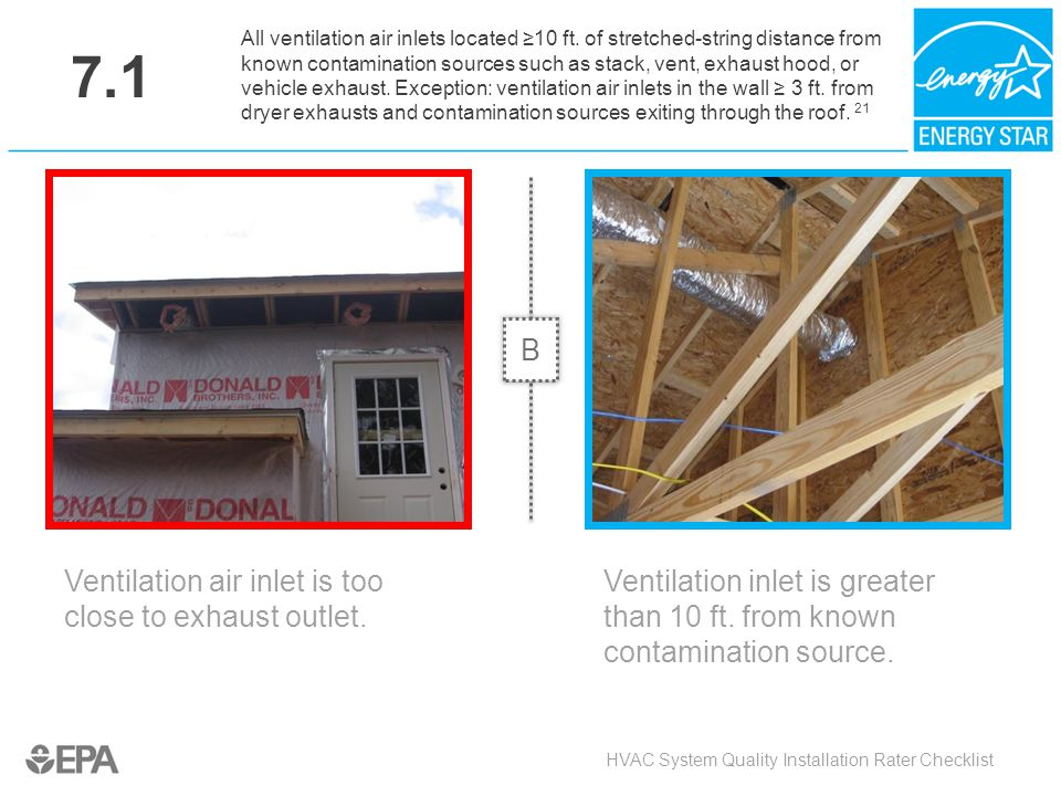 7.1 Ventilation air inlet is too close to exhaust outlet. HVAC System Quality Installation Rater Checklist All ventilation air inlets located ≥10 ft.