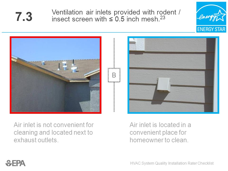 7.3 Air inlet is not convenient for cleaning and located next to exhaust outlets. HVAC System Quality Installation Rater Checklist Ventilation air inl