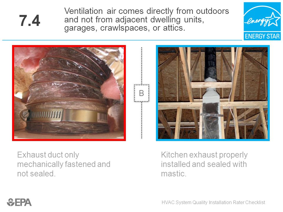 7.4 Exhaust duct only mechanically fastened and not sealed. HVAC System Quality Installation Rater Checklist Ventilation air comes directly from outdo