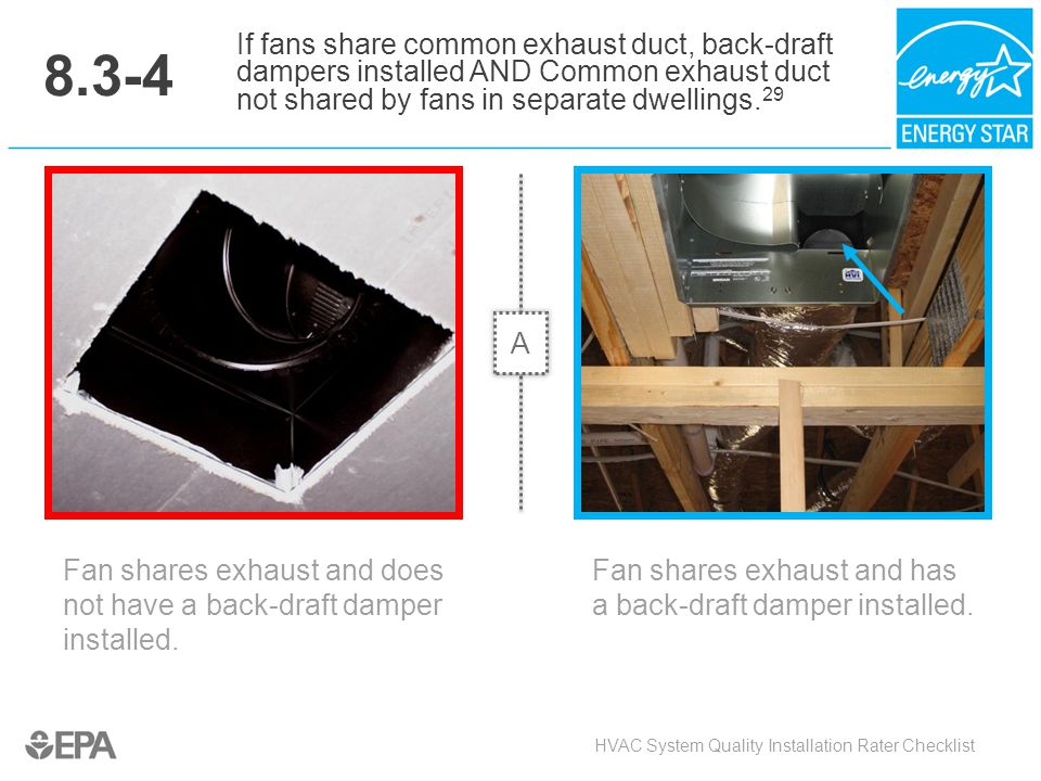 8.3-4 Fan shares exhaust and does not have a back-draft damper installed. HVAC System Quality Installation Rater Checklist If fans share common exhaus