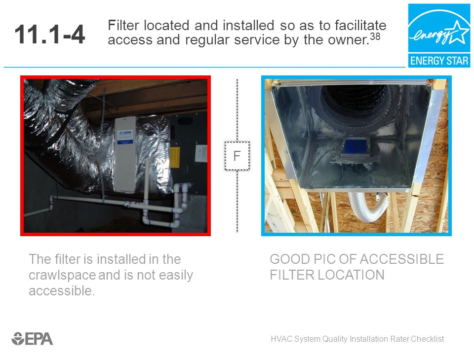 11.1-4 The filter is installed in the crawlspace and is not easily accessible. HVAC System Quality Installation Rater Checklist Filter located and ins