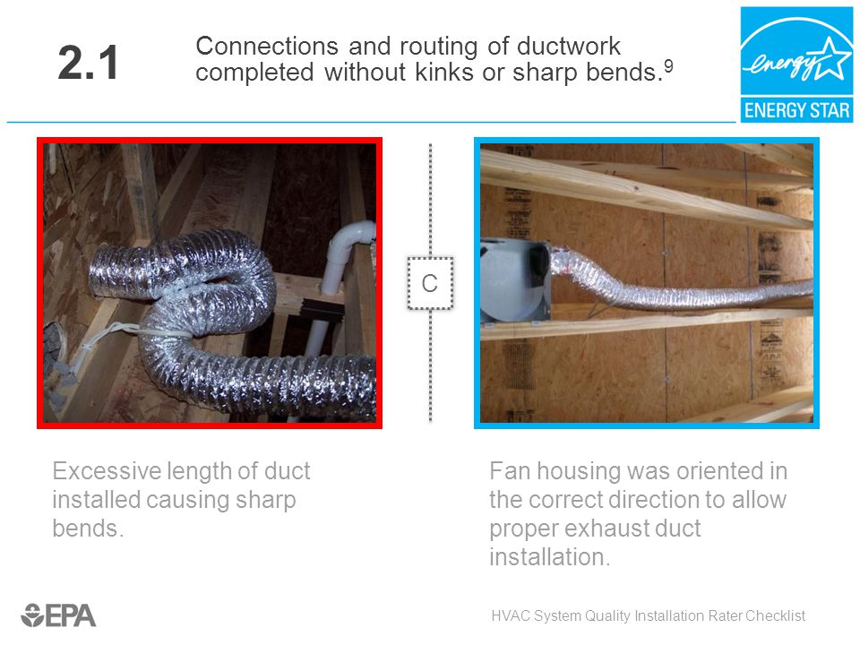 2.1 Excessive length of duct installed causing sharp bends. HVAC System Quality Installation Rater Checklist Connections and routing of ductwork compl