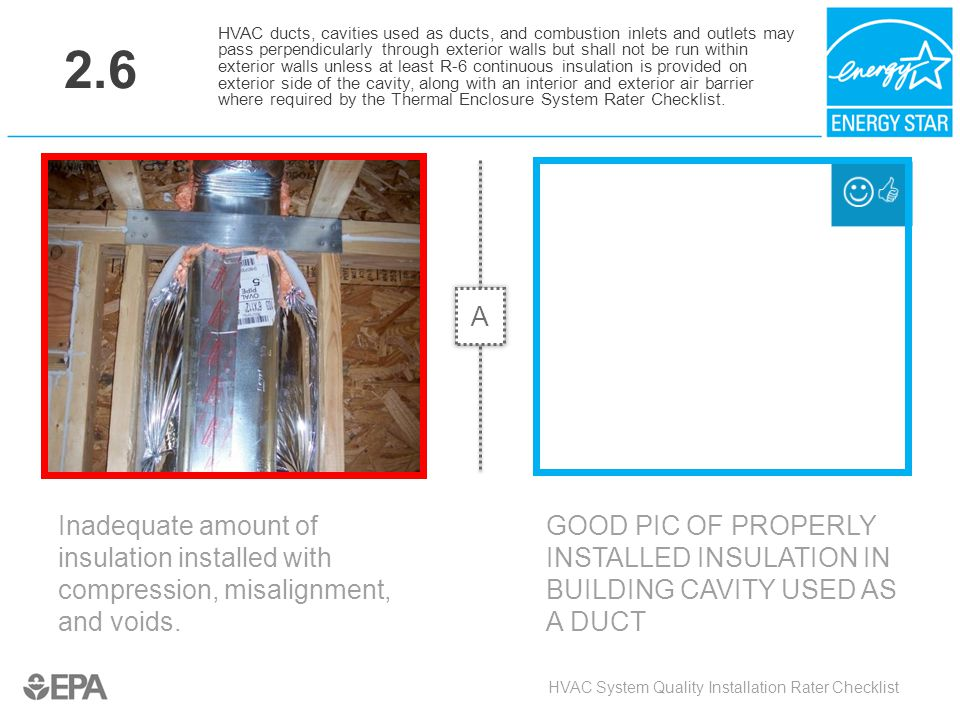 2.6 Inadequate amount of insulation installed with compression, misalignment, and voids. HVAC System Quality Installation Rater Checklist HVAC ducts,