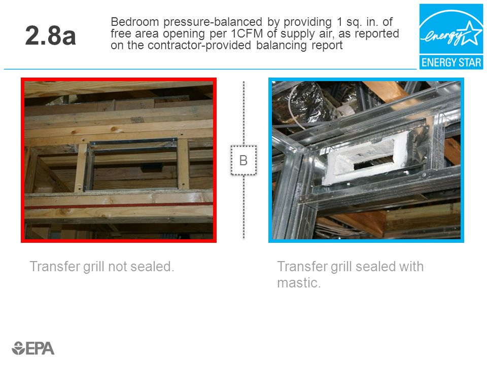 2.8a Transfer grill not sealed. Bedroom pressure-balanced by providing 1 sq. in. of free area opening per 1CFM of supply air, as reported on the contr