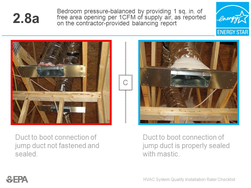 2.8a Duct to boot connection of jump duct not fastened and sealed. HVAC System Quality Installation Rater Checklist Bedroom pressure-balanced by provi