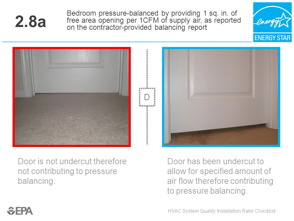 2.8a Door is not undercut therefore not contributing to pressure balancing. HVAC System Quality Installation Rater Checklist Bedroom pressure-balanced
