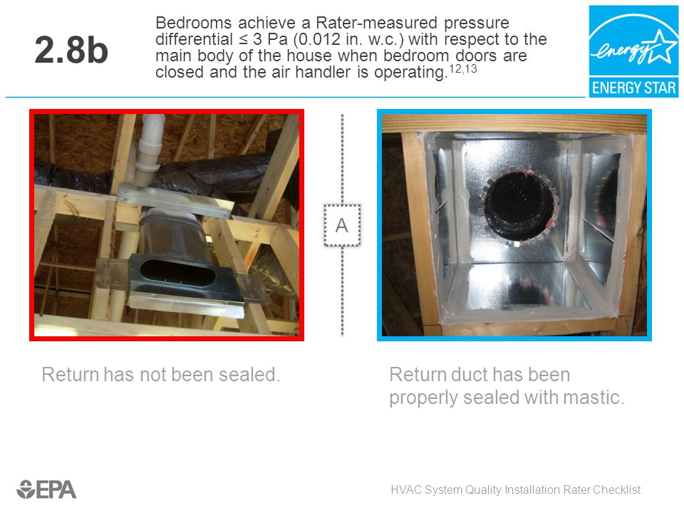2.8b Return has not been sealed. HVAC System Quality Installation Rater Checklist Bedrooms achieve a Rater-measured pressure differential ≤ 3 Pa (0.01