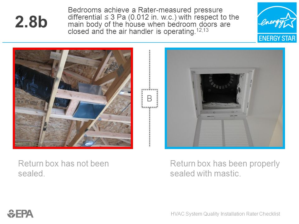 2.8b Return box has not been sealed. HVAC System Quality Installation Rater Checklist Bedrooms achieve a Rater-measured pressure differential ≤ 3 Pa (