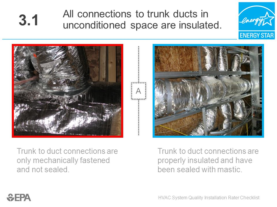 3.1 Trunk to duct connections are only mechanically fastened and not sealed. HVAC System Quality Installation Rater Checklist All connections to trunk