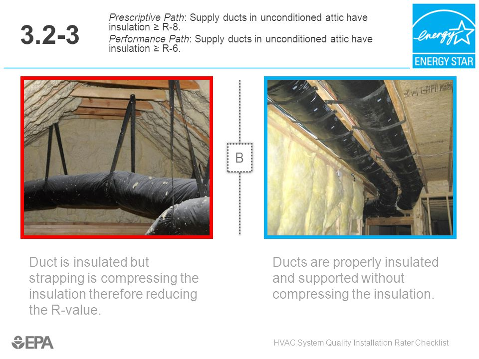 3.2-3 Duct is insulated but strapping is compressing the insulation therefore reducing the R-value. HVAC System Quality Installation Rater Checklist P