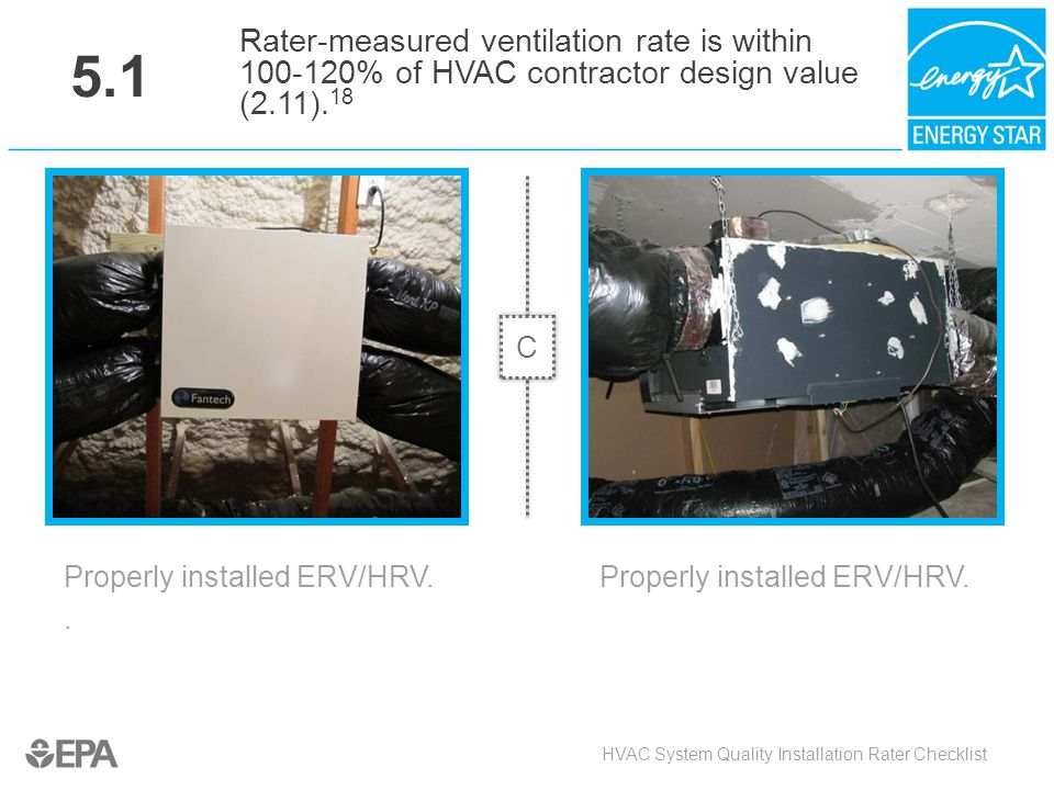 HVAC System Quality Installation Rater Checklist Properly installed ERV/HRV.. 5.1 Rater-measured ventilation rate is within 100-120% of HVAC contracto