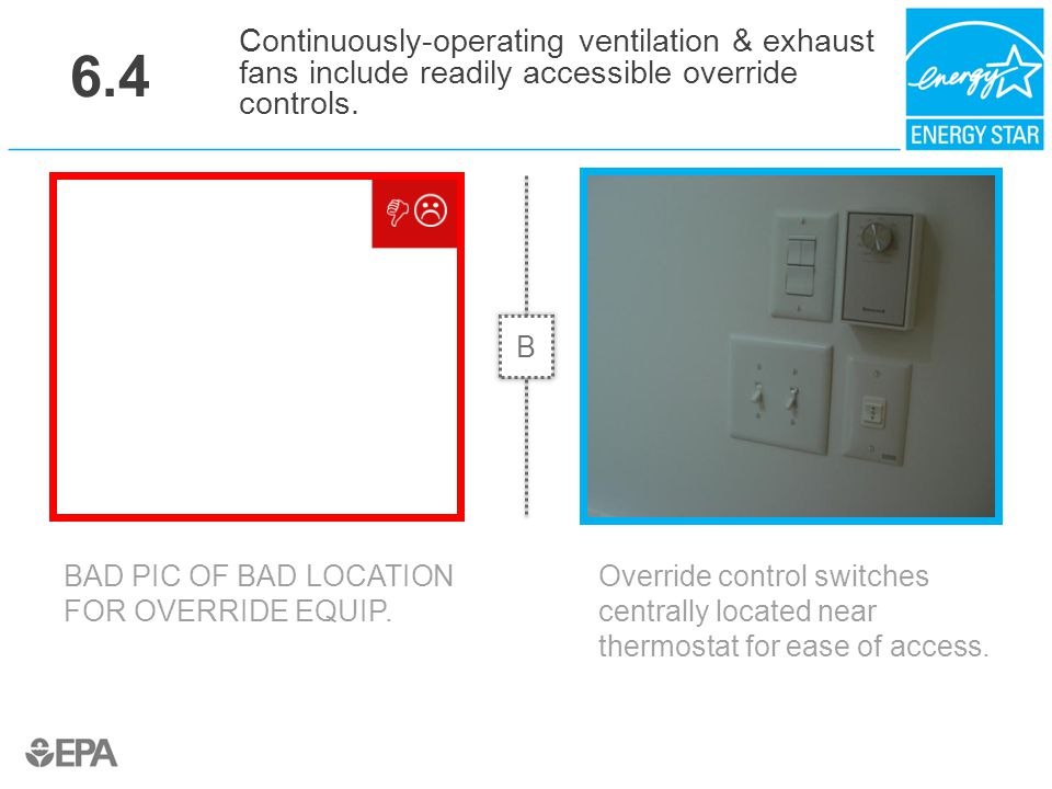 6.4 BAD PIC OF BAD LOCATION FOR OVERRIDE EQUIP. Continuously-operating ventilation & exhaust fans include readily accessible override controls. Overri