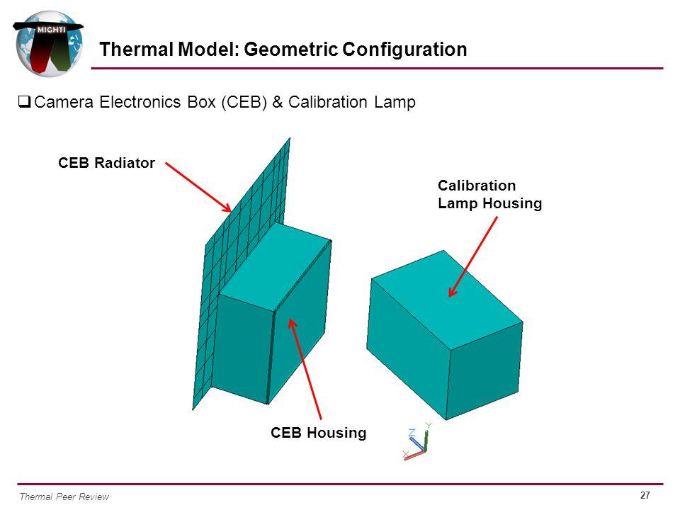 27 Thermal Peer Review  Camera Electronics Box (CEB) & Calibration Lamp Thermal Model: Geometric Configuration CEB Radiator CEB Housing Calibration L