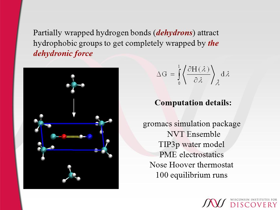 Partially wrapped hydrogen bonds (dehydrons) attract hydrophobic groups to get completely wrapped by the dehydronic force gromacs simulation package NVT Ensemble TIP3p water model PME electrostatics Nose Hoover thermostat 100 equilibrium runs Computation details: