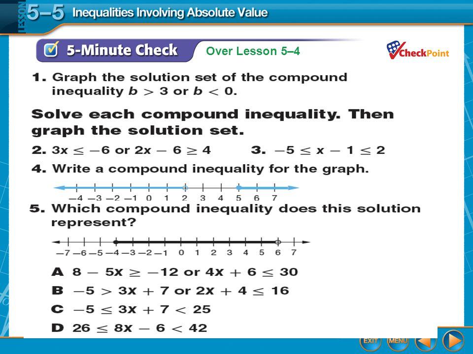 Over Lesson 5–4