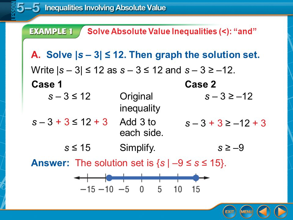 Example 1 Solve Absolute Value Inequalities (<): and A.