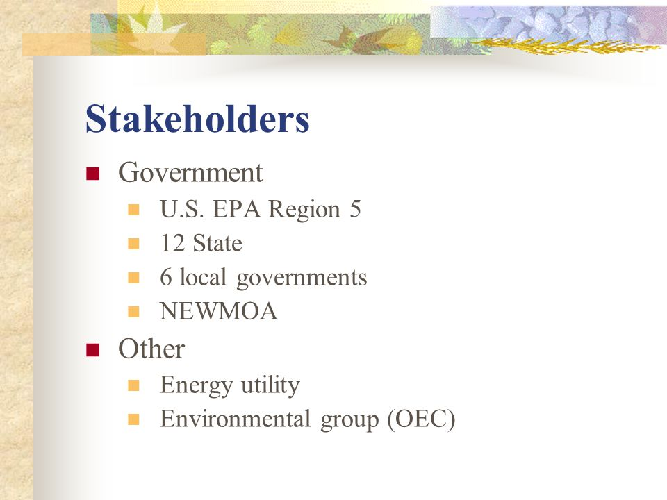 Stakeholders Government U.S.
