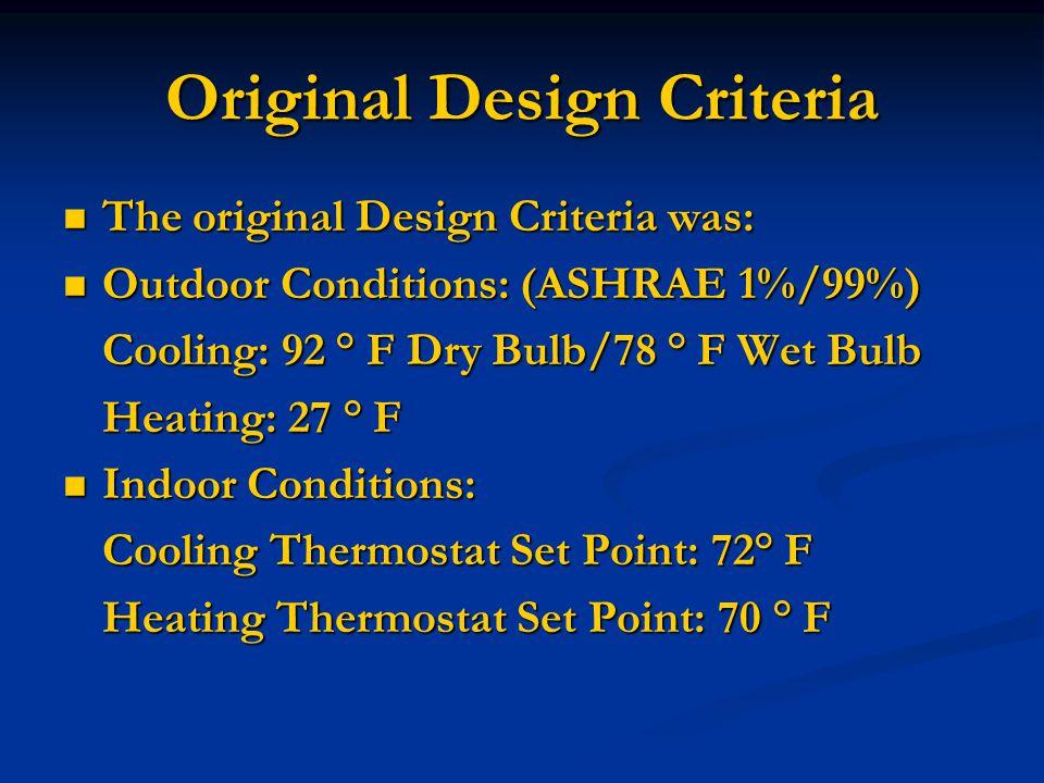 Original Design Criteria The original Design Criteria was: The original Design Criteria was: Outdoor Conditions: (ASHRAE 1%/99%) Outdoor Conditions: (ASHRAE 1%/99%) Cooling: 92 ° F Dry Bulb/78 ° F Wet Bulb Heating: 27 ° F Indoor Conditions: Indoor Conditions: Cooling Thermostat Set Point: 72° F Heating Thermostat Set Point: 70 ° F