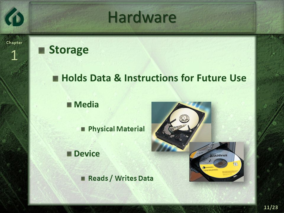 Chapter1 11/23 Hardware Storage Holds Data & Instructions for Future Use Media Physical Material Device Reads / Writes Data