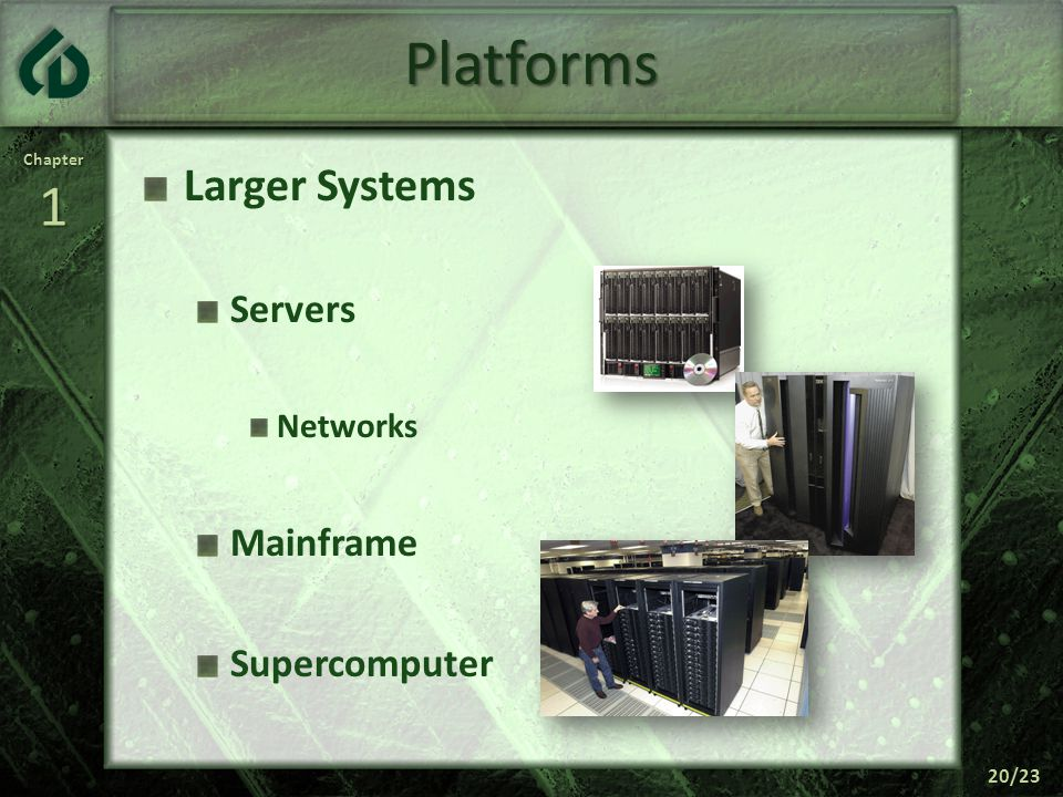 Chapter1 20/23 Platforms Larger Systems Servers Networks Mainframe Supercomputer