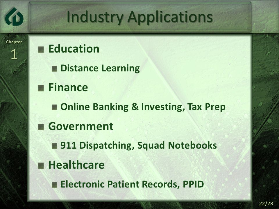 Chapter1 22/23 Industry Applications Education Distance Learning Finance Online Banking & Investing, Tax Prep Government 911 Dispatching, Squad Notebooks Healthcare Electronic Patient Records, PPID