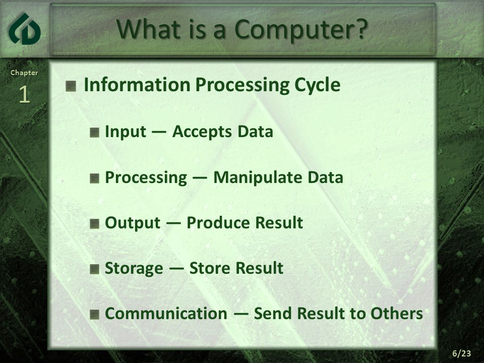 Chapter1 6/23 What is a Computer.