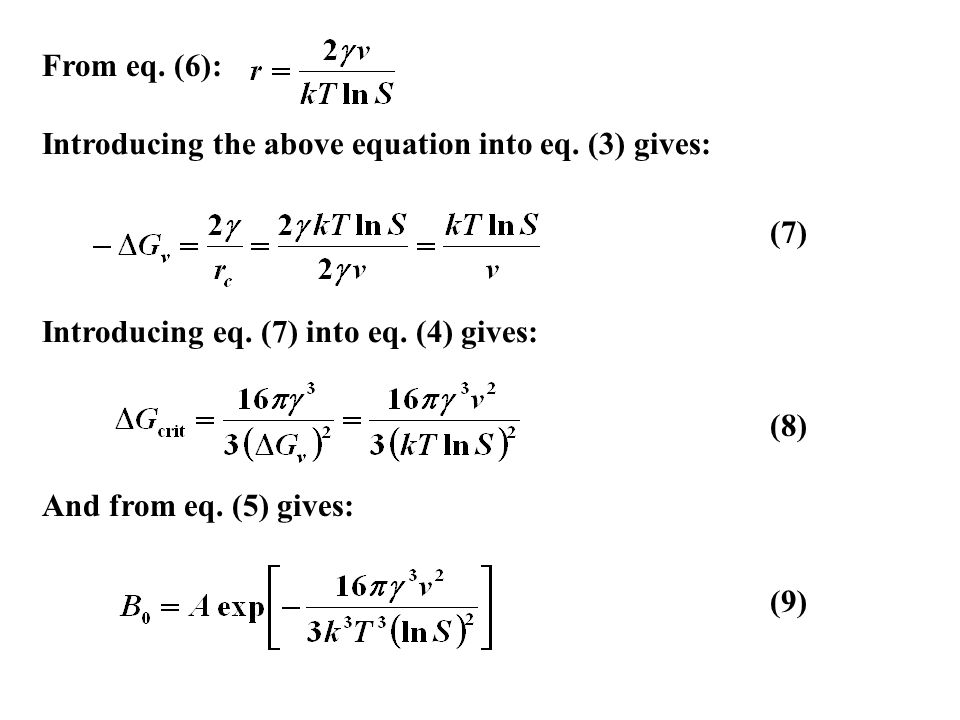 (7) From eq. (6): Introducing the above equation into eq. (3) gives: (8) Introducing eq. (7) into eq. (4) gives: And from eq. (5) gives: (9)