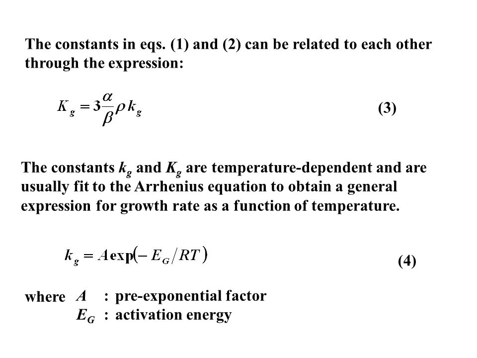 The constants k g and K g are temperature-dependent and are usually fit to the Arrhenius equation to obtain a general expression for growth rate as a