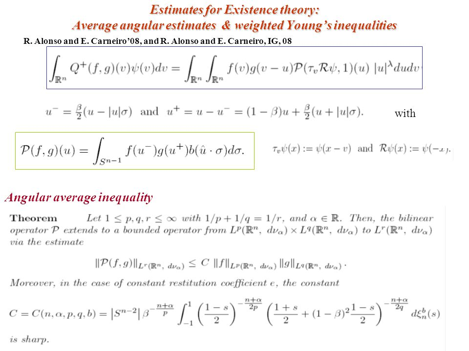 Estimates for Existence theory: Average angular estimates & weighted Young's inequalities R. Alonso and E. Carneiro'08, and R. Alonso and E. Carneiro,