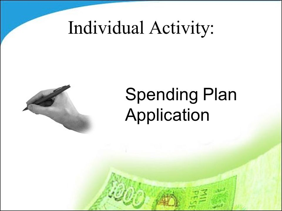 Spending Plan Application Individual Activity: